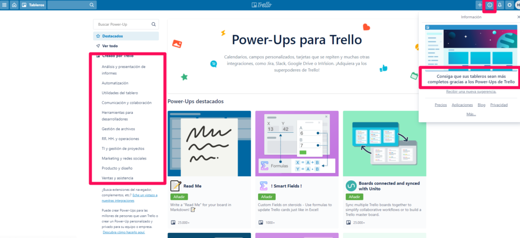 Power-Ups integraciones Trello